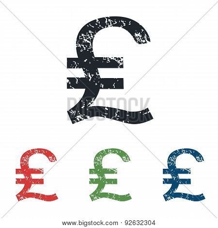 Pound sterling grunge icon set