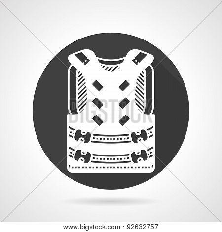 Protective vest black round vector icon