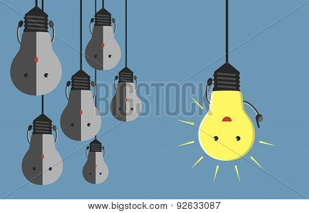Many Light Bulb Characters