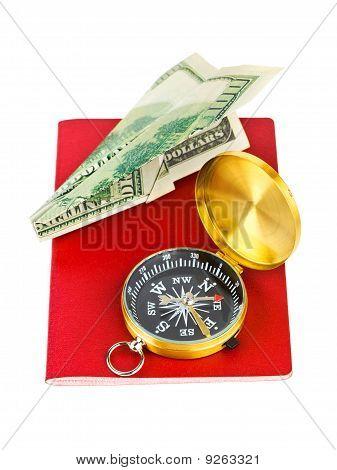 Reisepass, Kompass und Geld Flugzeug - reisen-Konzept