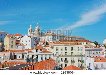 Lisbon Skyline Including Saint Vicente De Fora Monastery, Portugal