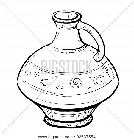 Black And White Sketch Of Stylized Retro Eastern Pitcher