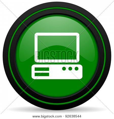 computer green icon pc sign