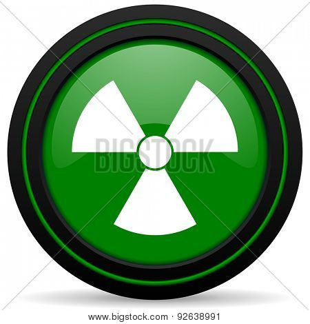 radiation green icon atom sign