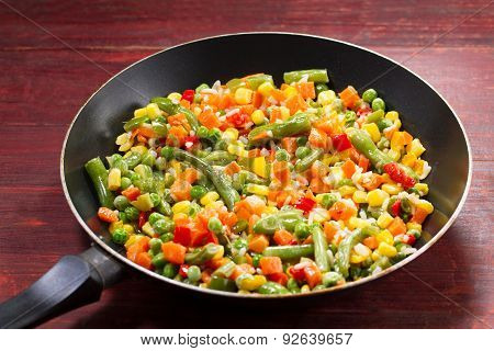 Vegetable Mix In The Pan On Wooden Background