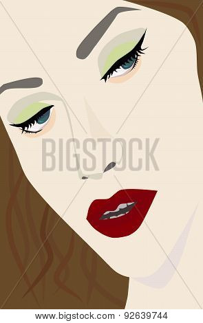 Female portrait with red lips