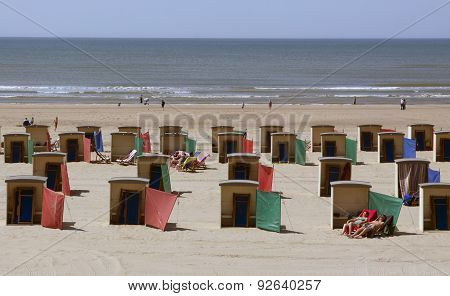 Beach Houses At The Beach In Katwijk In The Netherlands