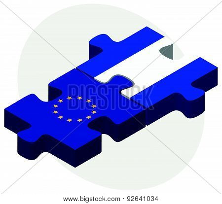 European Union And El Salvador Flags In Puzzle