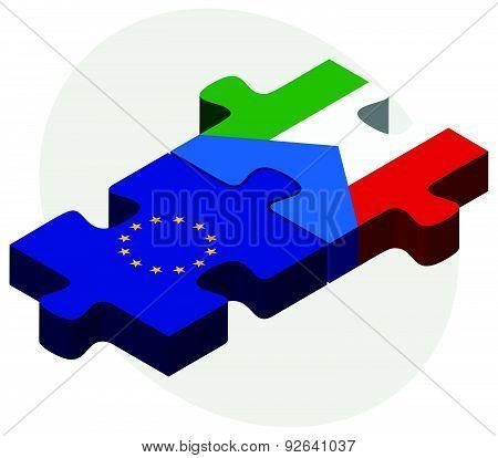 European Union And Equatorial Guinea Flags In Puzzle