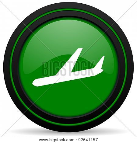 arrivals green icon plane sign
