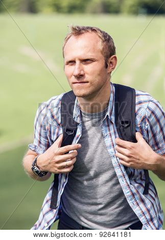 Man With Backpack Portrait