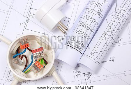 Electrical Box, Electric Plug And Diagrams On Drawing