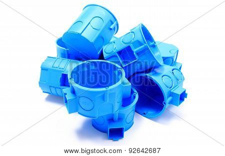 Heap Of Blue Electrical Boxes On White Background