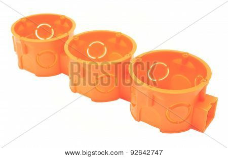 Orange Electrical Boxes On White Background