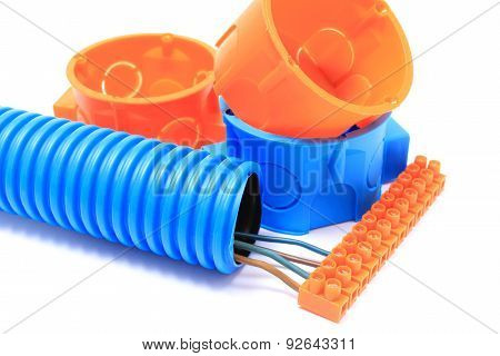 Corrugated Pipe, Electrical Box, Cable With Connection Block