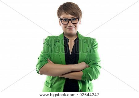 Photo of pudgy woman in green jacket