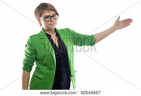 Image of pudgy showing business woman