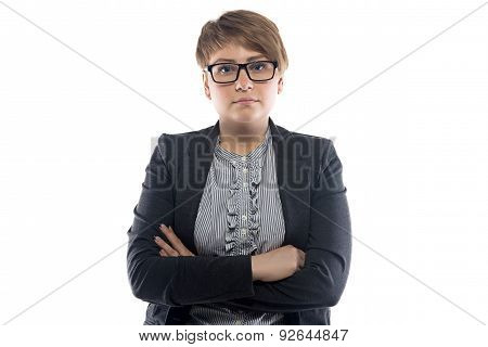 Image of pudgy business woman with short hair