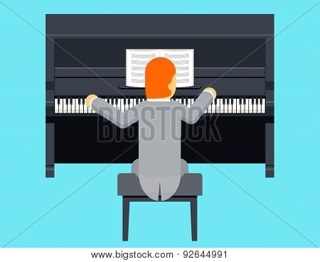 Pianist Piano Player Concept Character Flat Design on Stylish Background Template Vector Illustratio