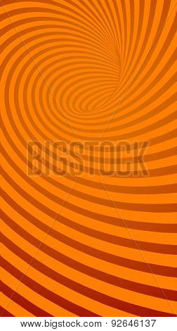 Spiral Orange Striped Abstract Tunnel Background