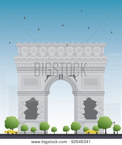Arch of Triumph in Paris. France. Vector illustration