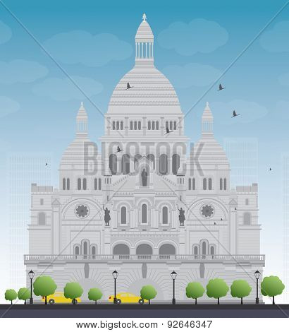 Basilica of the Sacred Heart, Paris, France. Vector illustration