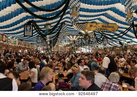 Beer Tent At Spring Festival On Theresienwiese In Munich, Germany, 2015