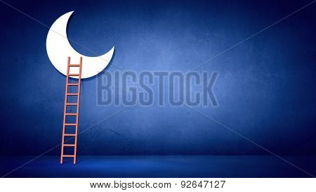 Conceptual image with ladder to moon on blue background