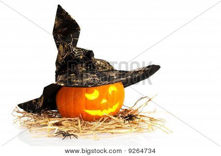Abóbora de Halloween com chapéu de bruxas