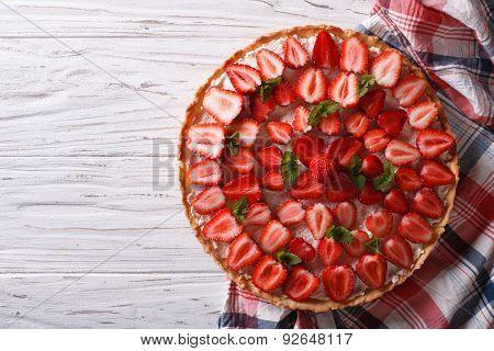Beautiful Tart With Fresh Strawberries. Horizontal Top View