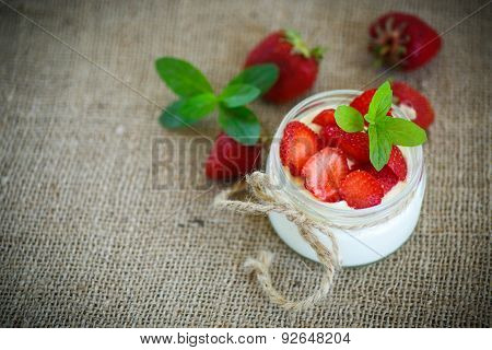 Sweet Delicious  Yogurt With Fresh Strawberries