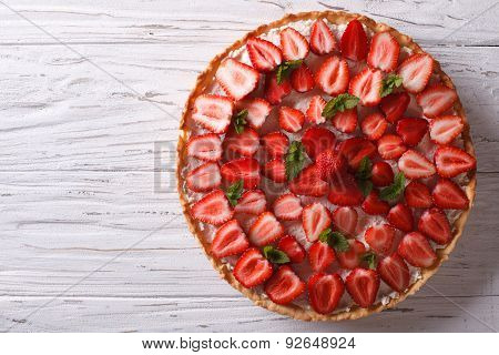 Delicious Tart With Fresh Strawberries Horizontal Top View