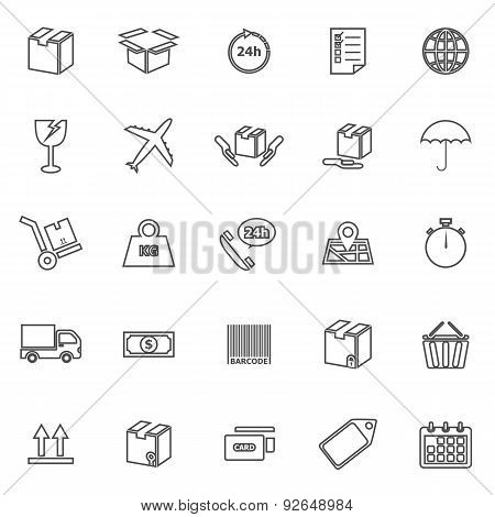 Shipping Line Icons On White Background