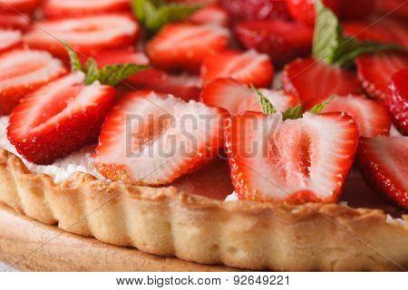 Strawberry Tart With Cream Cheese Macro. Horizontal Background