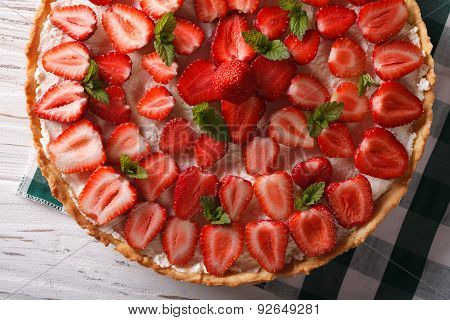 Homemade Strawberry Tart With Mint Horizontal Top View Closeup