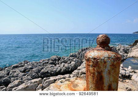 Mooring Barrow At Rocky Shore Croatia