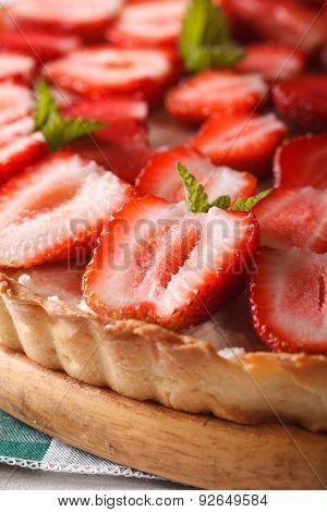 Strawberry Tart With Cream Cheese Macro. Vertical Background
