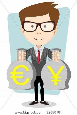 of a happy young cartoon businessman with bag full money euro. Vector Illustration