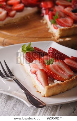 Piece Of Strawberry Tart With Cream Cheese Close-up. Vertical
