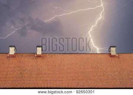Thunderstorm with lightening