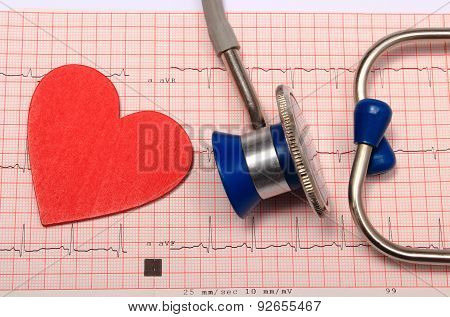 Stethoscope, Electrocardiogram Graph Report And Heart Shape