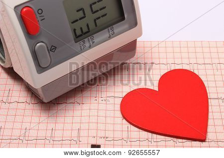 Heart Shape And Blood Pressure Monitor On Electrocardiogram
