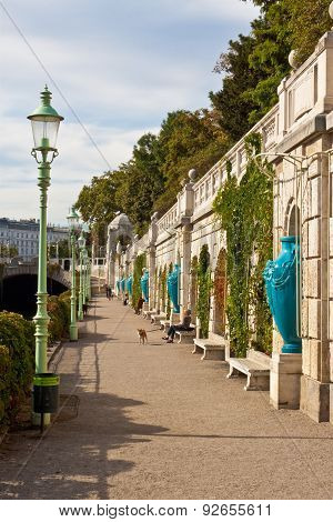 Promenade Along The River In Vienna