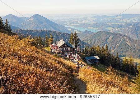 Restaurant On A Mountain In Austrian Alps