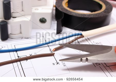 Accessories For Engineer Jobs Lying On Construction Drawing