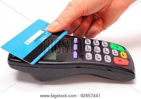 Hand Of Woman Paying With Contactless Credit Card, Nfc Technology
