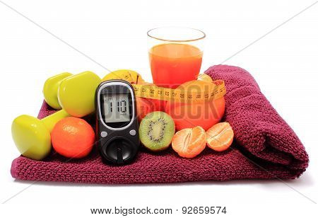 Glucometer, Fruits, Tape Measure, Juice And Dumbbells