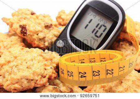 Glucose Meter, Oatmeal Cookies And Tape Measure