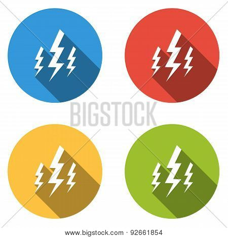 Collection Of 4 Isolated Flat Buttons For Lightning Bolt