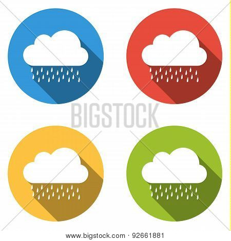 Collection Of 4 Isolated Flat Buttons For Rain Or Storm